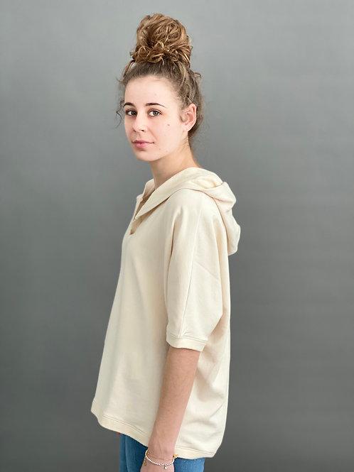 Artikel 10121  Sweatshirt Hoodie halbarm Viskose Baumwolle