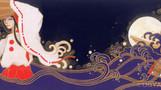ワタツミ -ミュージシャン望月俊 アルバムジャケット用イラスト-            松の板 アクリル絵の具 色鉛筆