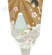 そら高くキラキラの光       桐の羽子板/  アクリル 色鉛筆 2015.3