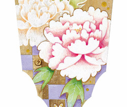私、蝶なの花なのよ       桐の羽子板/  アクリル 膠  水干絵具 石膏 色鉛筆