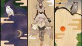 梟の親子            松の板 アクリル絵の具 色鉛筆