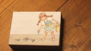 【まじないのハコをとじた】  円のカケラを集めるためのハコ  (部分)           桐箱 / 膠 水干絵具 石膏  色鉛筆 和紙  113 × 83 × 28mm  2019.4