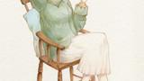歴史に輝くなでしこ大図鑑挿絵 (金の星社 刊) -林芙美子-            画用紙 アクリル絵の具 色鉛筆