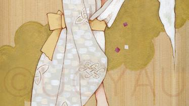 結び - 桜霞 -     檜の板 / アクリル 色鉛筆