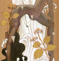 - 花と毒 - マチン     松の板 / アクリル 色鉛筆