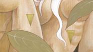 - 花と毒 - belladonna     松の板 / アクリル 色鉛筆
