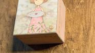 【まじないのハコをとじた】  一つ目の因縁果のハコ (部分)           桐箱 / 膠 水干絵具 石膏  色鉛筆 和紙  72 × 72 × 48mm  2019.3