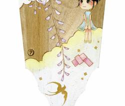 恋する気持ち届くかしら       桐の羽子板/  アクリル 膠  水干絵具 石膏 色鉛筆