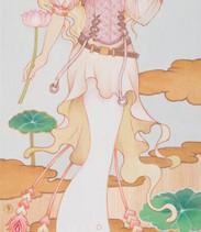 - syncretism(シンクレティズム) -  甘き露より、咲く - 吉祥天 -      檜の板 / アクリル 色鉛筆