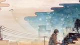 オンカイ -ミュージシャン望月俊 アルバムジャケット用イラスト-            松の板 アクリル絵の具 色鉛筆