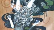 -Planktosの五行説- 水  ミズメ(板) 膠 水干絵具  石膏 色鉛筆  2018.8