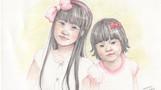 F田さんのお嬢さんたち            紙 色鉛筆