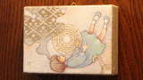 【まじないのハコをとじた】  まどろむ有為のハコ (部分)           桐箱 / 膠 水干絵具 石膏  色鉛筆 和紙  113 × 83 × 28mm  2019.4