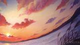 akane -ミュージシャン望月俊 アルバムジャケット用イラスト-            松の板 アクリル絵の具 色鉛筆