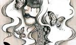 fizzBEYONDコラボTシャツ用原画            松の板 アクリル絵の具 色鉛筆