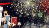 百花繚乱 -ミュージシャン望月俊 アルバムジャケット用イラスト-            松の板 アクリル絵の具 色鉛筆