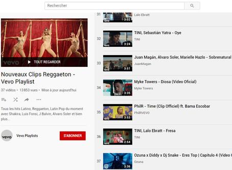 """Entrée sur la  Playlist """"Nouveaux Clips Reggaeton""""  - Vevo Playlist"""