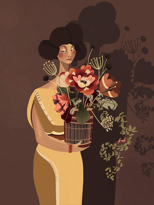 Women and Florals Series-Art Print