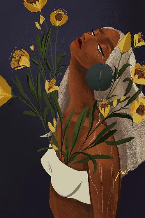 Women and Florals Series-Art Print