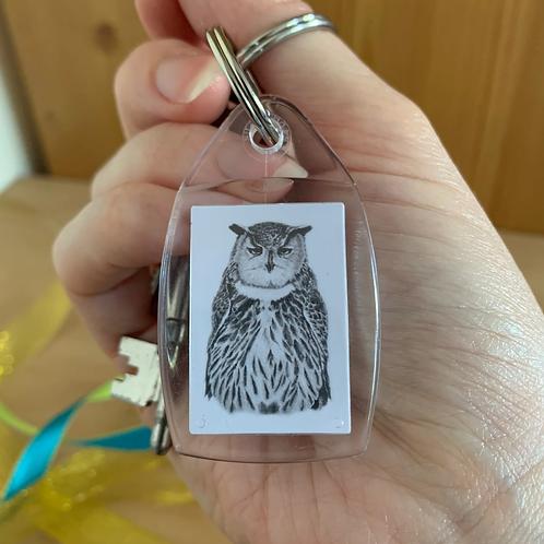 Grumpy owl keyring