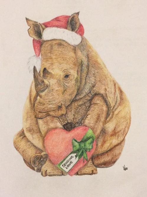 Original unframed Christmas Rhino drawing