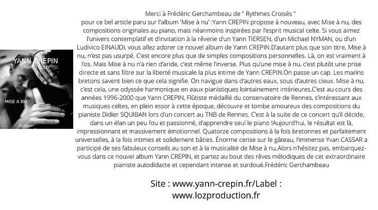 Yann CREPIN - article Rythmes Croisés