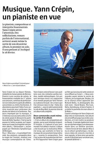 article du 3 janvier 2019 de Yann Crepin dans Le Télégramm