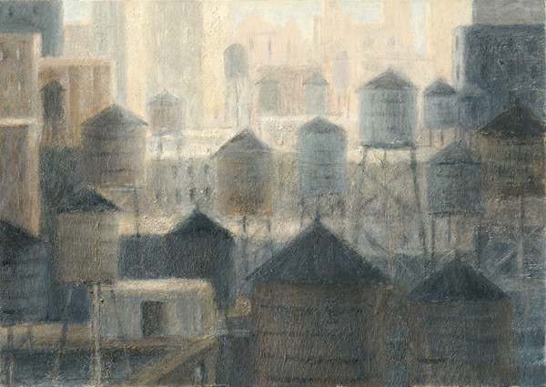 """""""Audience of Water Towers"""" - acrylic on panel"""