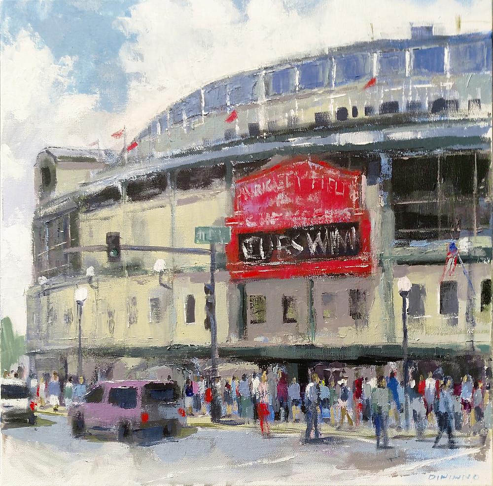 """""""Cubs Win!"""" - acrylic on canvas - 20""""x20"""""""
