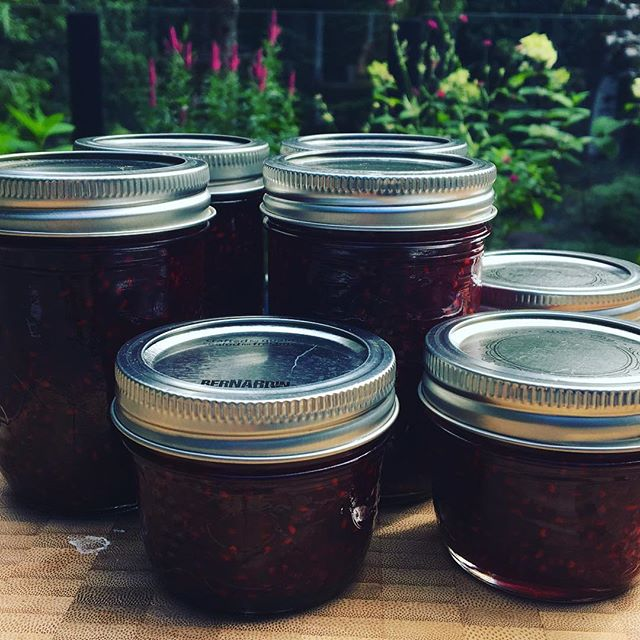 Raspberry jam from our bumper crop today