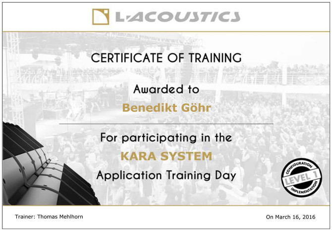 L'Acoustics Tontechnik Fortbildung