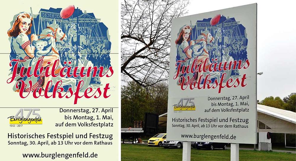 475 Jahre, Stadt Burglengenfeld, Beschilderung, Werbeagentur
