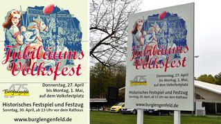 Beschilderung: Jubiläumsvolksfest: 475 Jahre Stadt Burglengenfeld