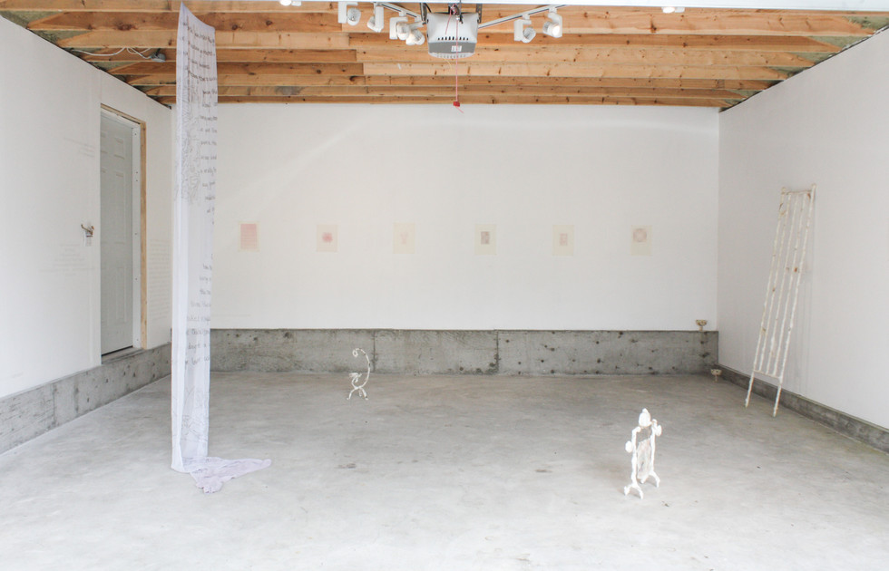 Sentient Sun, 2020. Installation view, works by Marina Fathalla, Lamis Haggag, Lauren Lavery and Mehrnaz Rohbakhsh in view.
