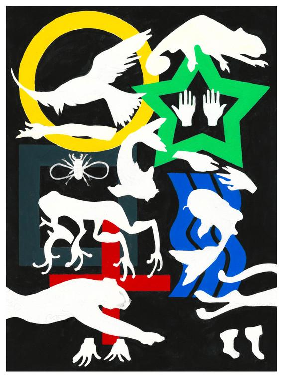 """Zener acryla-gouache on paper  9"""" x 12""""  2020"""