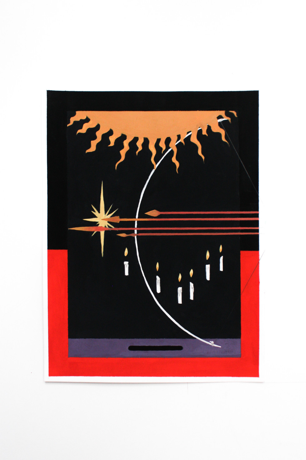 """Quantum Arc Acryla gouache on paper 9"""" x 12"""" 2020"""