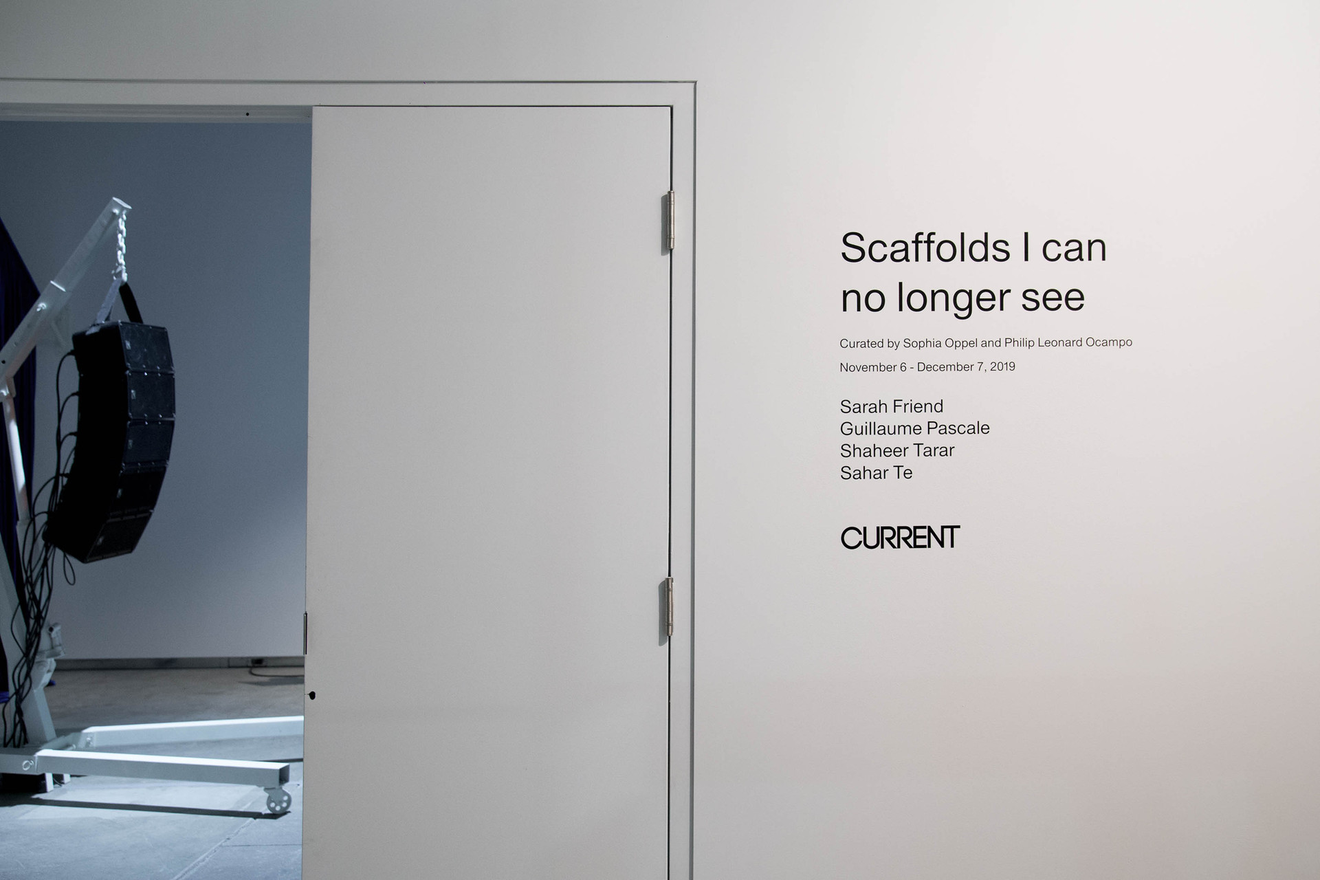 Scaffolds I can no longer see, 2019. Installation view, work by Sahar Te in view. Photography by Natalie Logan. Courtesy of InterAccess
