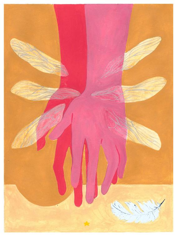 "Feather Overlay acryla-gouache on paper  9"" x 12""  2020"