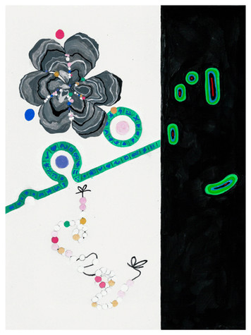 """Pearl painting acryla-gouache on paper 9"""" x 12"""" 2020"""