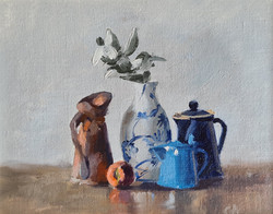 'Blue & Copper Jug with Peaches'