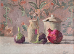 'Milk Jug, Sugar Bowl, Fruit & Wall Paper'