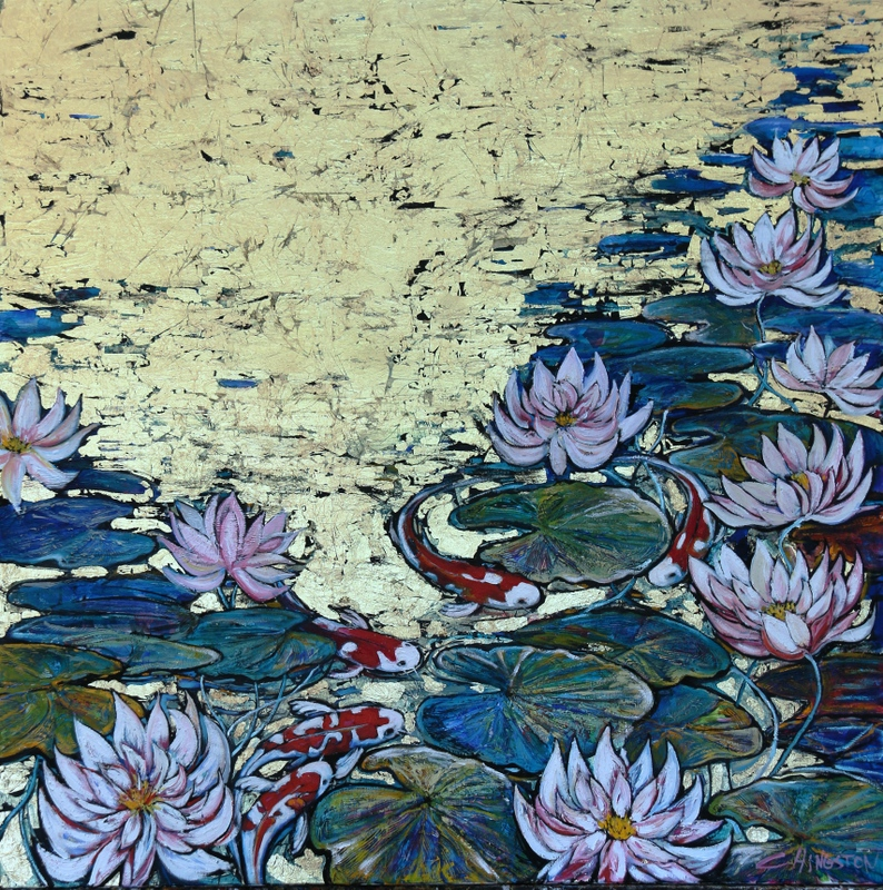 White Lotus on Gold with Fish