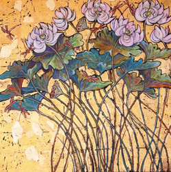 White Lotus with Dragonflies on Gold