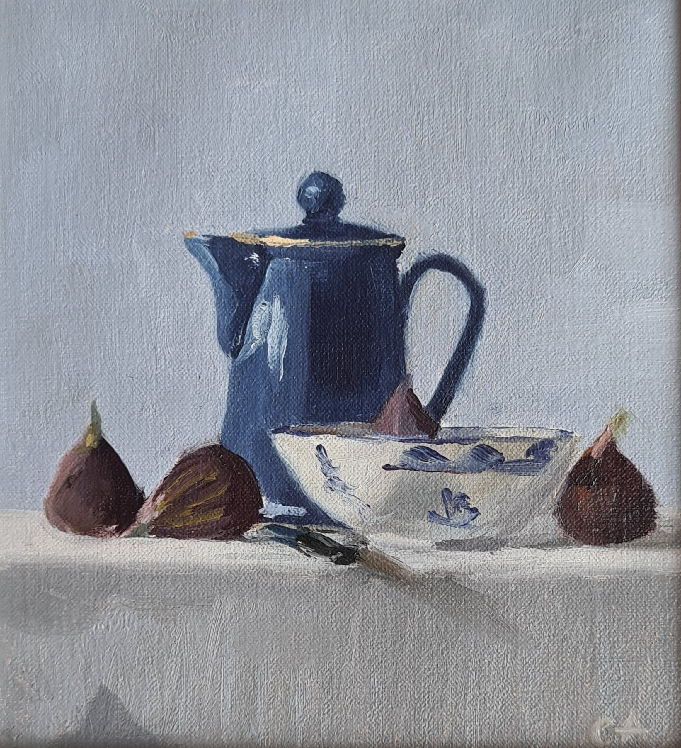 'Blue Kettle & Bowl with Fruit'