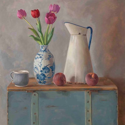 Tulips, Peaches, Wooden Box
