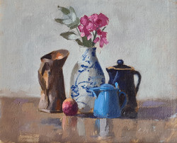 'Blue & Copper Jug with Bloom'