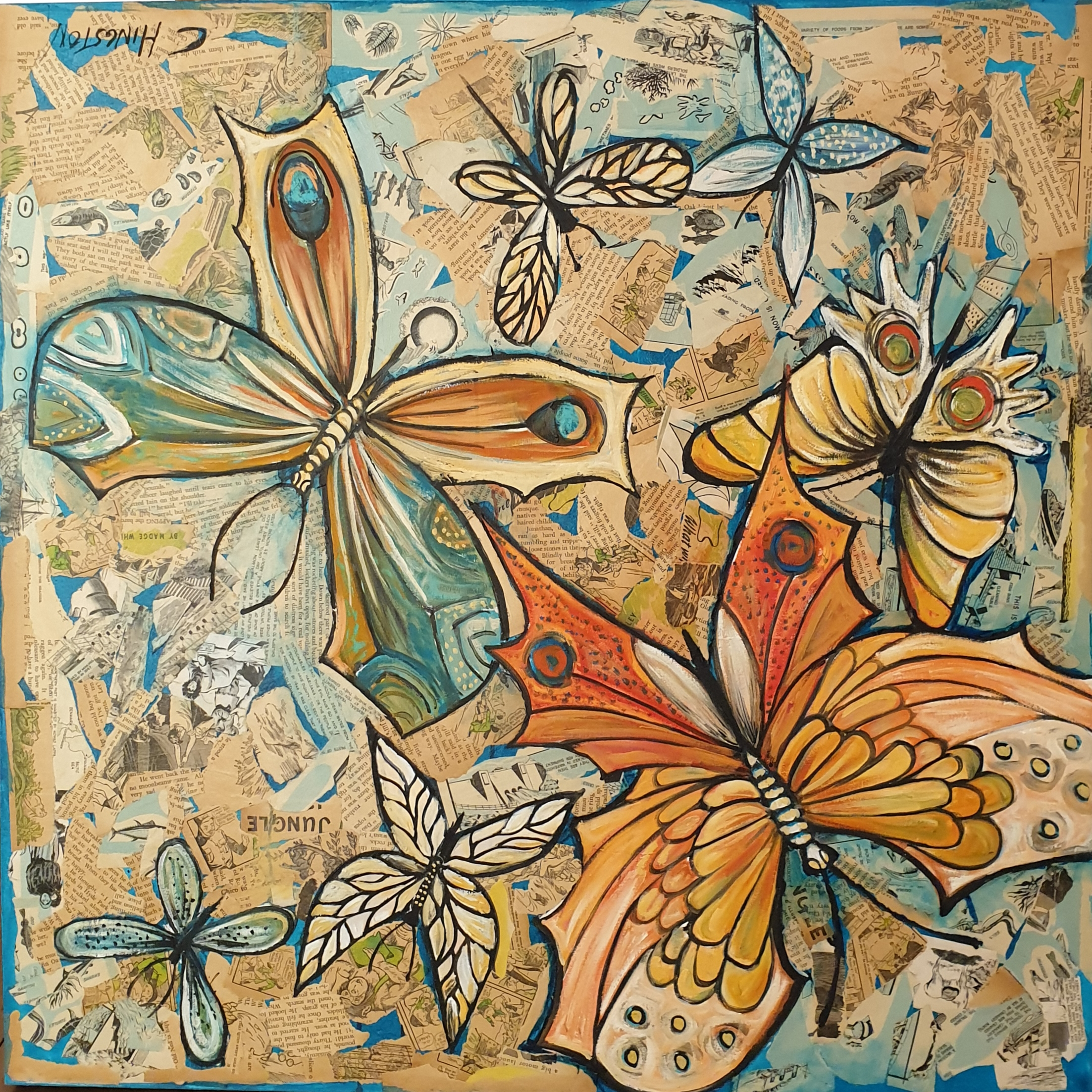 Aqua Paper Butterflies