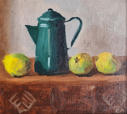 'Dark Green Kettle with Lemons'