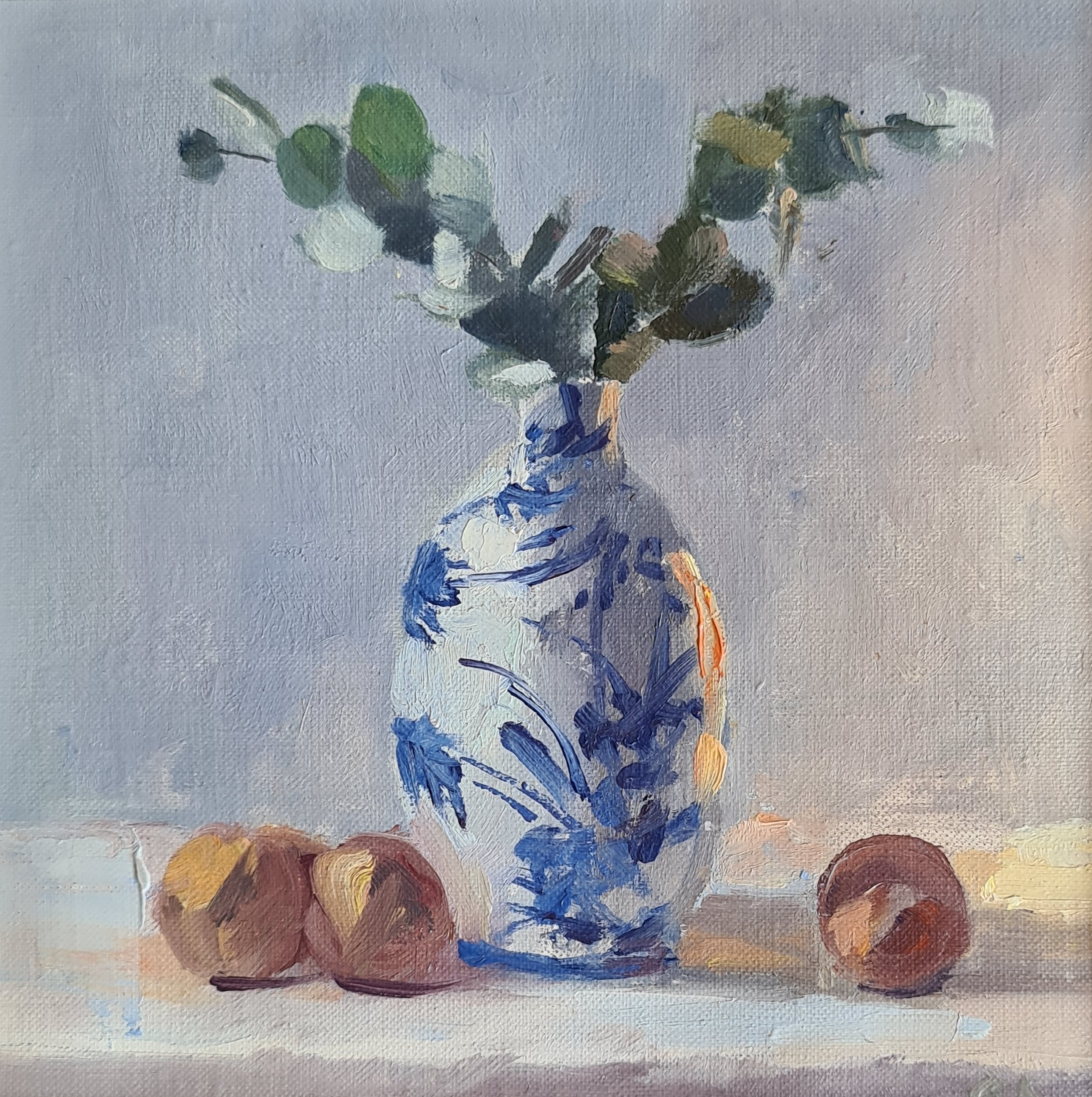 'Blue & White Vase with Eucalypt'