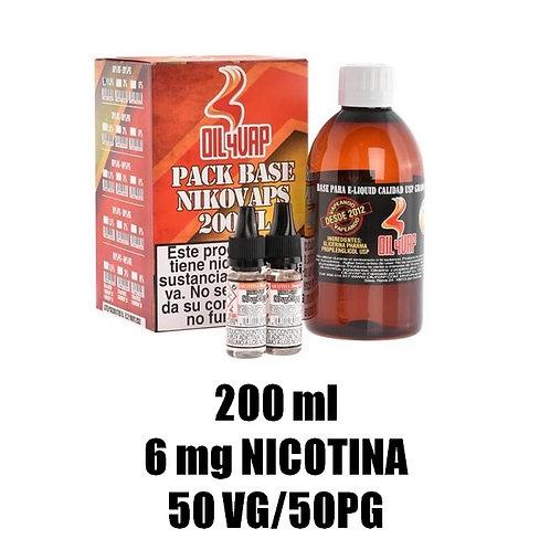 Oil4Vap - PACK BASE Y NIKOVAPS 200ml | 6mg | 50VG/50PG